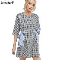 Loneyshow Women Summer Elegant Loose Dress 2017 New Fashion Half Sleeve Bows Waist Plaid Dress