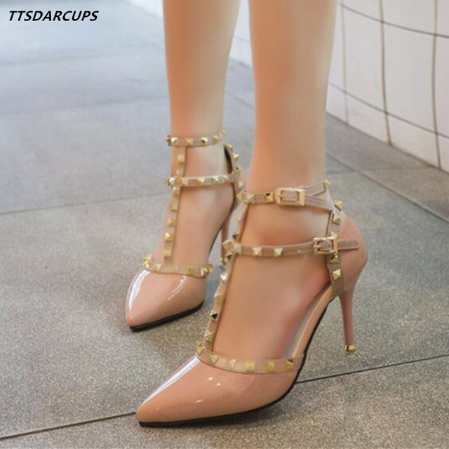 bb1eccfaac 2018 summer and Autumn Nude color rivet High heeled single shoes sexy pumps  sandals Ankle strap hollow out Baotou women's shoes