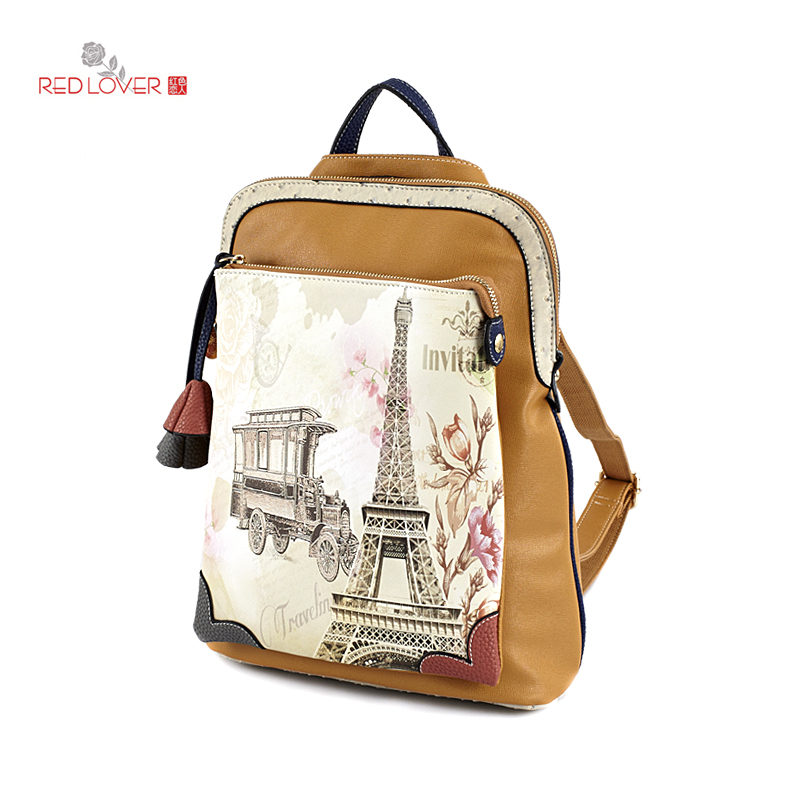 ФОТО Red Lover Lady Preppy style backpack Fashion girls backpacks PU leather printing school bag Teenagers College wind