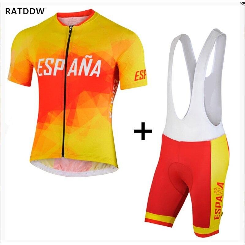 RATDDW для мужчин Испания Трикотаж Короткий рукав велосипед велосипедный трикотаж PA ciclismo Майо Спортивная одежда - Цвет: Jersey and bib short