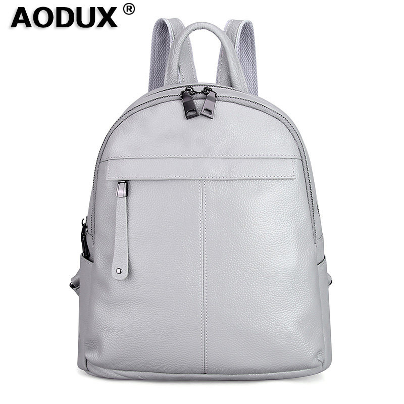 Aodux White Silver Gray Pink Backpacks Genuine Cow Leather Female Women Backpack First Layer Cowhide School Bags Black Hardware(China)