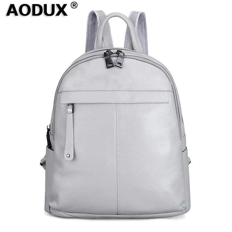 Aodux 2 Kích Thước Trắng Bạc Ốp Lưng Chính Hãng Da Bò Nữ Ba Lô Nữ Đầu Tiên Lớp Da Bò Trường Túi Đen Phần Cứng