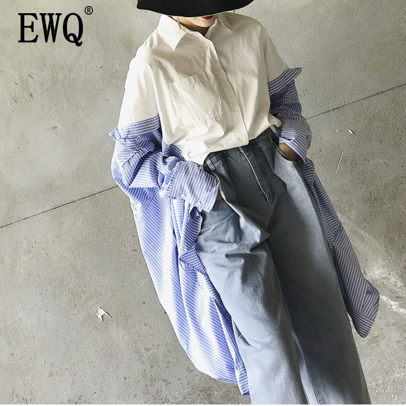 EWQ 2019 Spring Autumn New Pattern Lapel Asymmetrical Patchwork Striped Singe Breasted Casual Loose Shirt