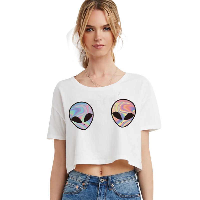 Lindo Pecho Ovni Tee Nueva Blanco Camiseta De Corta Mujeres Alienígena Femenino Impreso Top Camisas Sexy Moda Cosecha Tumblr 2019 Tops 3d wNvn0m8O