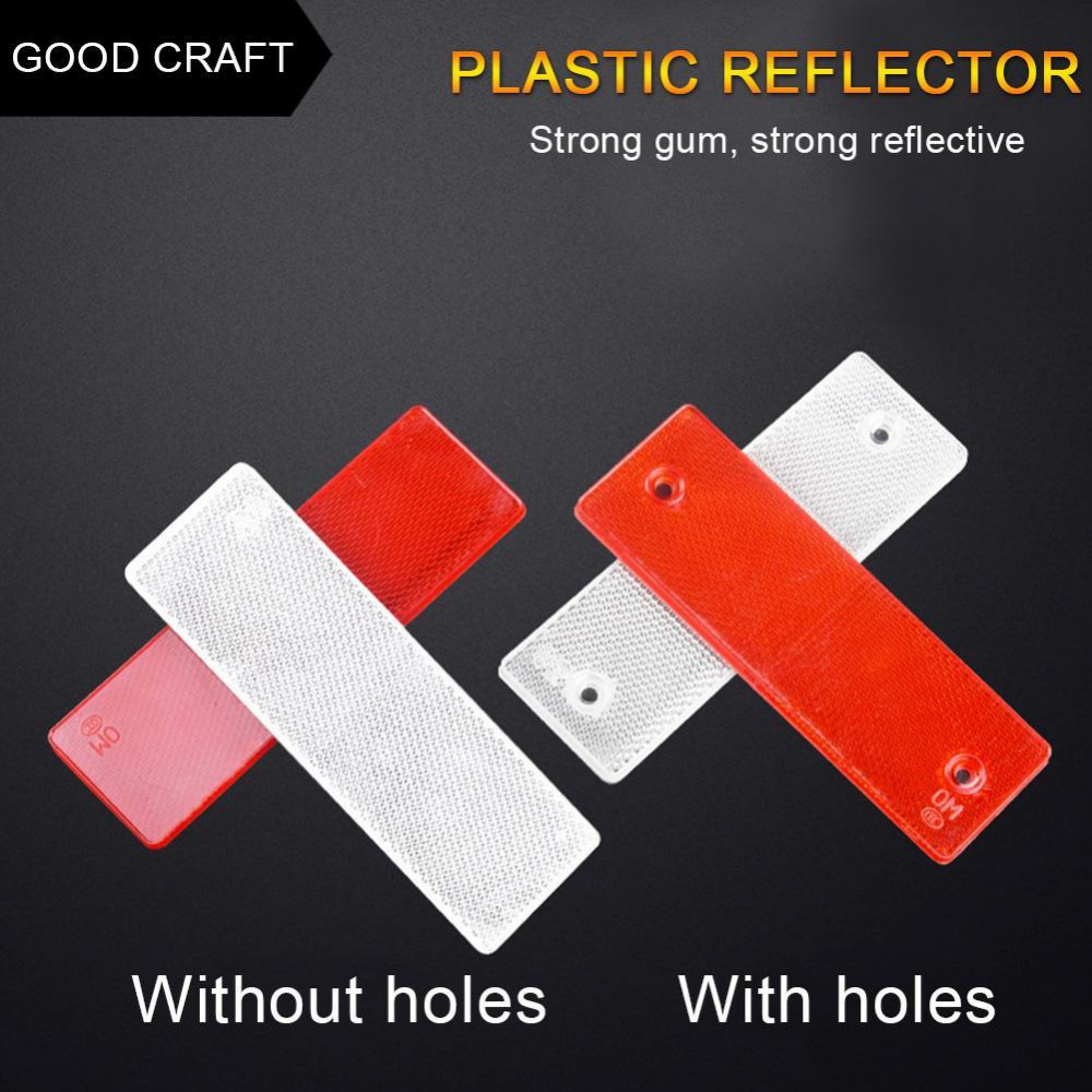1Pce Red White Plastic Car Vehicle Rectangle Reflector Warning Plate Stickers