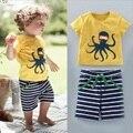 Meninos Roupas de Verão de Algodão do bebê Polvo T-shirt Tira Calça Curta 2 pcs Set Bebê Roupas de Bebê Da Marca Barco Pássaro Simples polvo