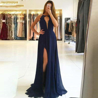 Sleeveless Scoop A line Lace Straps Backless Evening Gown Navy Blue Dress Party Long Simple High Slit Chiffon Prom Dress 2019