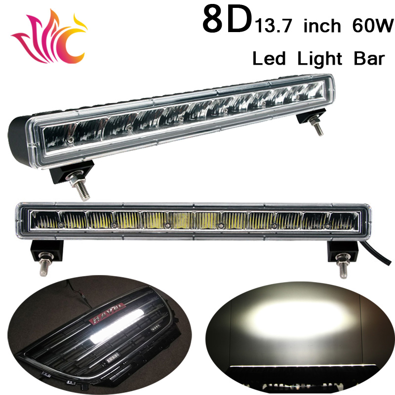 8D 13.7'' 60W Led Light Bar Single Row Offroad light Car Front Grille LED DRL lamp Driving Daytime Running Light Warning Light akd car styling for mercedes benz b class w245 led star light drl front grille led logo hollow emblem daytime running light