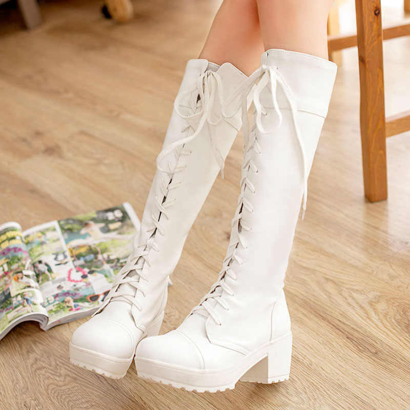 2015 New Fashion Women's Cosplay Shoes Lacing-Up Boots Martin Boots Lady Shoes Black.White Plus Size 35-43 #4128