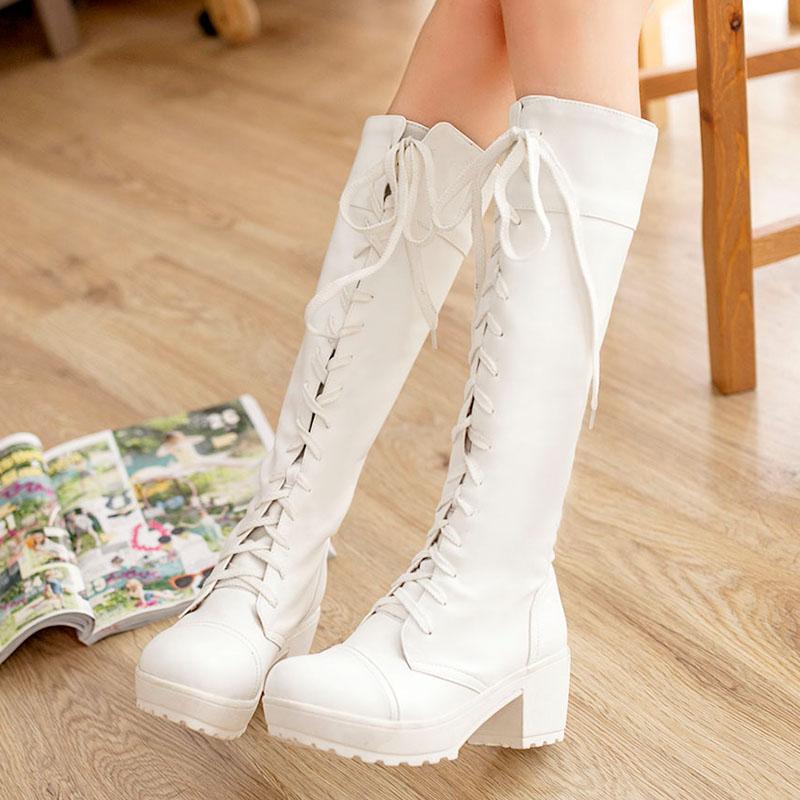 Mujer Negro Negro Tamaño blanco Señora Zapatos 35 Cosplay Blanco 2015 Moda Botas Nueva 43 Cordones Más Martin 4128 wUqzExRC