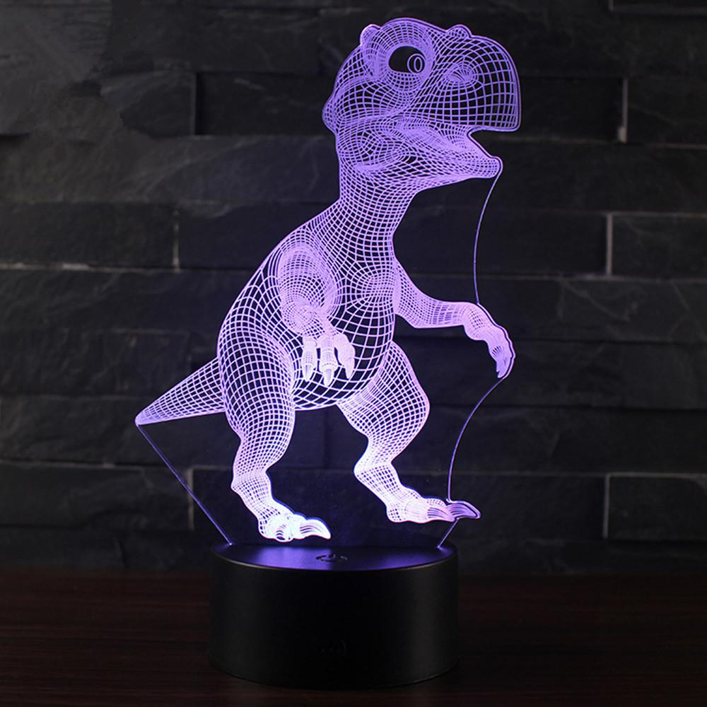HobbyLane 3D Night Lamp with Touch Control Dinosaur Battery 3AA USB Night Light Multicolor LED Lighting Christmas Gift Home