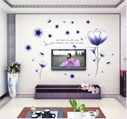 AY9184 Romantic Purple Hibiscus Flower Wall Sticker PVC Living Room TV  Background Home Decoration Stickers Wall Decor