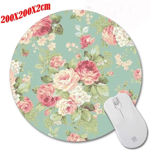 Red Flowers Special Offer Pop Pattern Printing Mousepad Computer Laptop Mouse Pad Round Rubber Anti Slip Gaming Desk Mice Mat by Mairuige