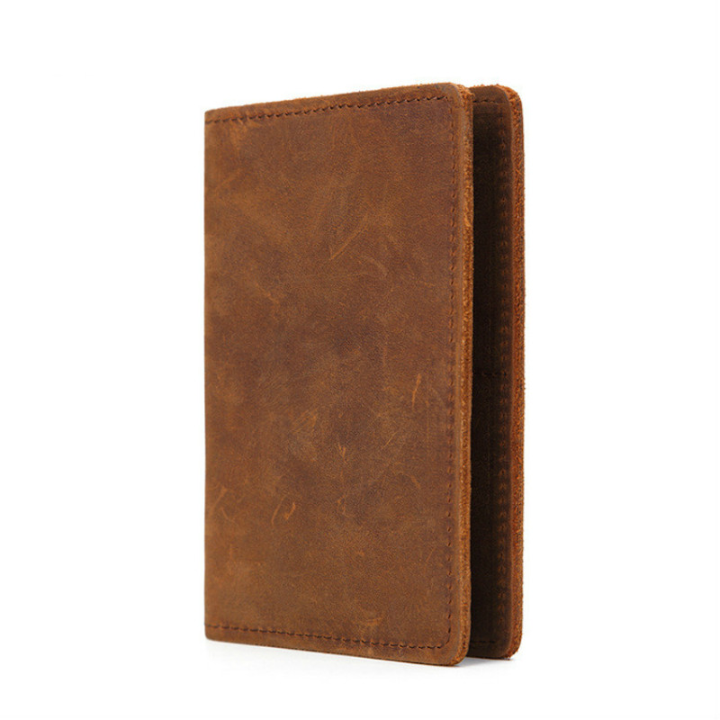 Mens wallet leather genuine crazy horse passport header layer cow credit card clip