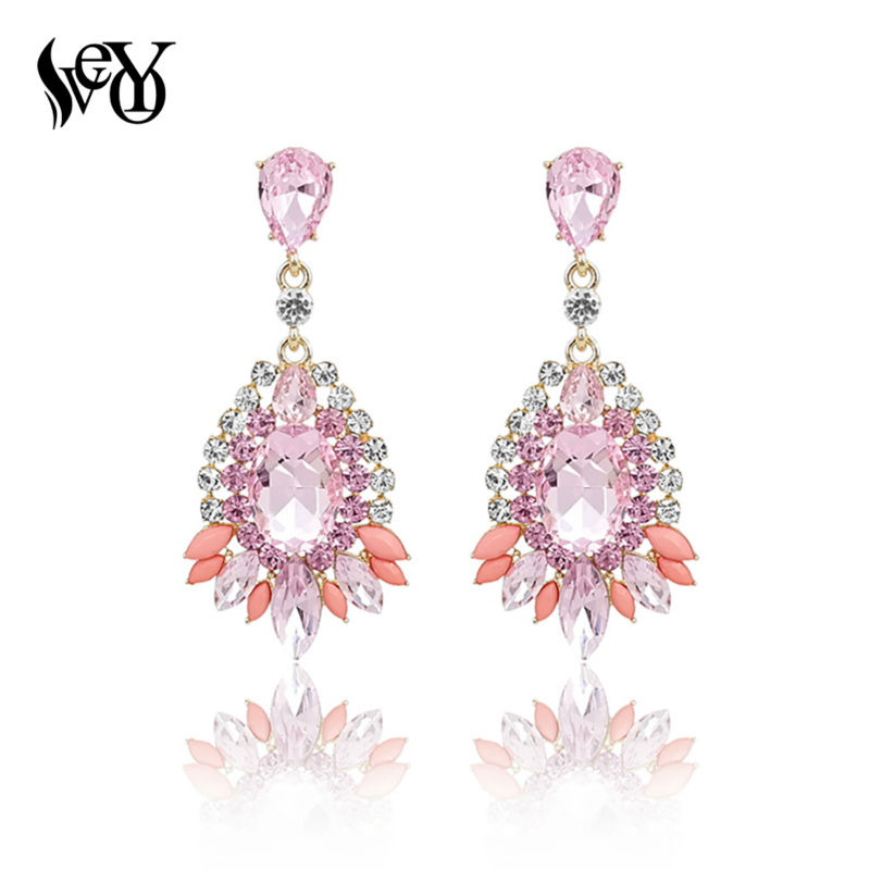 VEYO Kristal Drop Earrings Wanita Trendy Anting Mewah Hot Sale Kualitas Tinggi pendientes Brincos