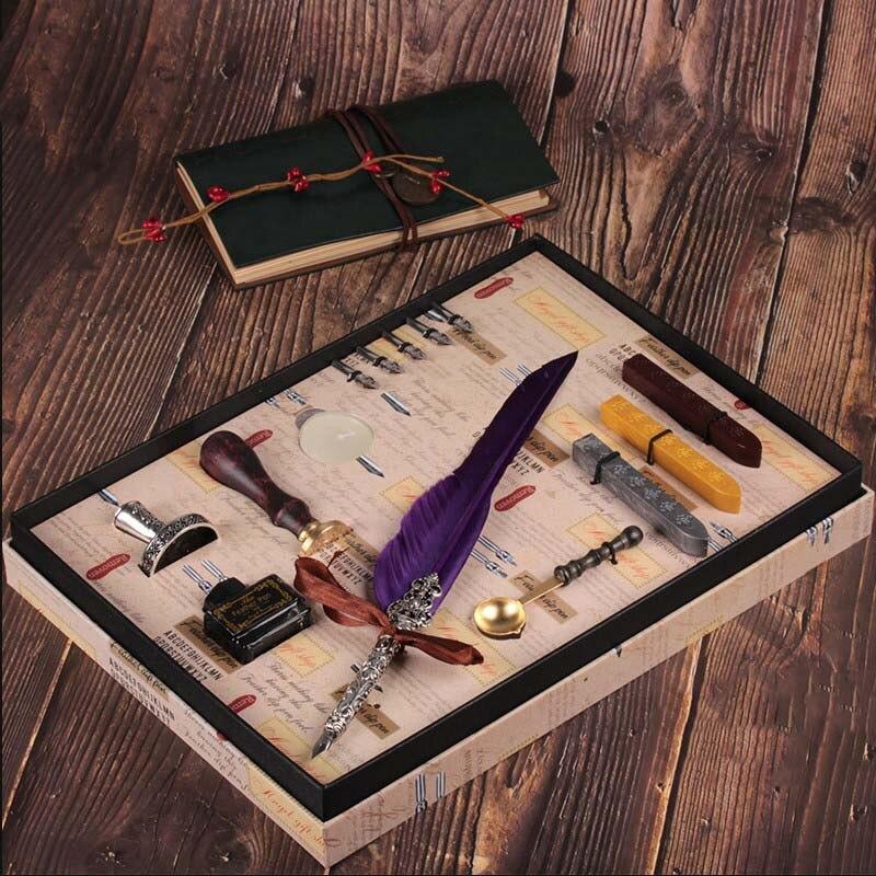 Coffret cadeau Vintage Harry Potter métal courbé naturel plume de dinde ensemble avec 5 plumes, stylo support, cire, nom sceau, Quil - 6