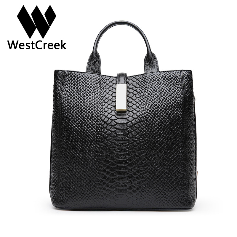 Westcreek Brand Women Serpentine Handbag Genuine Leather Fashion Hasp Tote Bags Cow Leather Female Casual Crossbody Bag yuanyu 2018 new hot free shipping real python skin snake skin color women handbag elegant color serpentine fashion leather bag