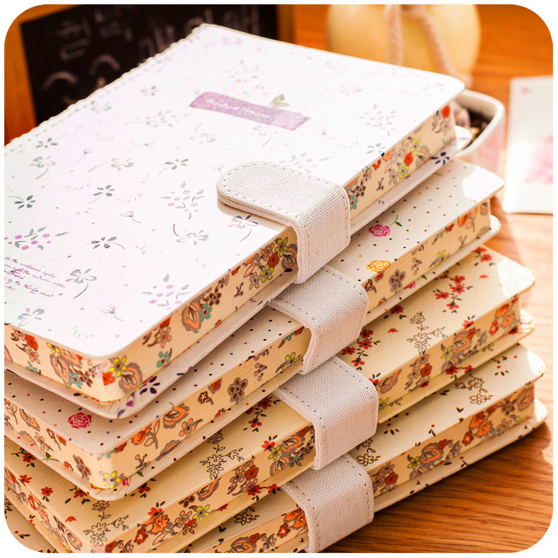 Diary Notebook Korea small fresh floral notebook with magnetic buckle creative student diary retro stationery thick art Notepad creative pure and fresh japanese style notepad 32k blank notebook hand diary south korea