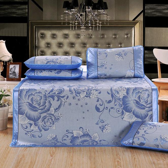 Ice Silk Cooling Summer Sleeping Mat Foldable Three Piece Mats 150 200cm 180 200cm