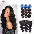 Peerless Peruvian Virgin Hair Body Wave Ear to Ear Lace Frontal Closure with Bundles Peruvian BodyWave with Closure 3 Bundles