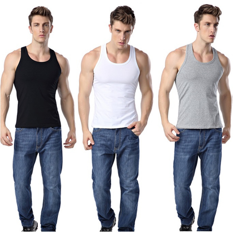 3 pieces/lot   Tank     Top   Men O-Neck Solid Bodybuilding fitness Undershirt Asian size