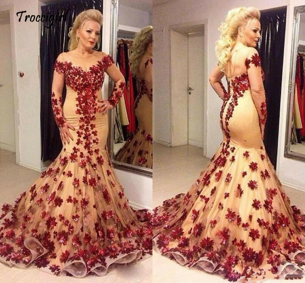 Gorgeous Mermaid Floral Tulle Wedding Party Dress Prom Evening Celebrity Gowns