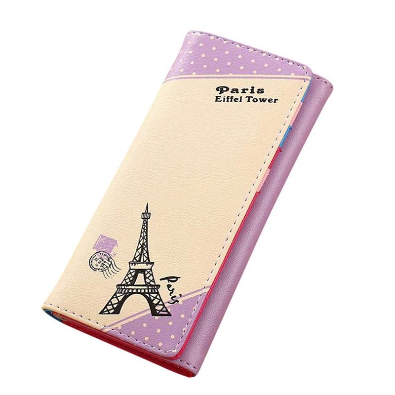 Lowest Price Women Wallets New Women Paris Eiffel Tower Hasp Coin Purse Long Wallet Card Holders Handbag Portefeuille Femme mooistar2 3001 women solid color coin purse long wallet card holders handbag