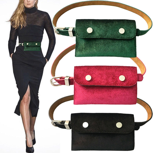 Winter Velvet Women's Waist Bag Fashion Designer Purse Women's Thin Belt Bag Small Casual Funny Packs Lady Mobile Phone Key Bag