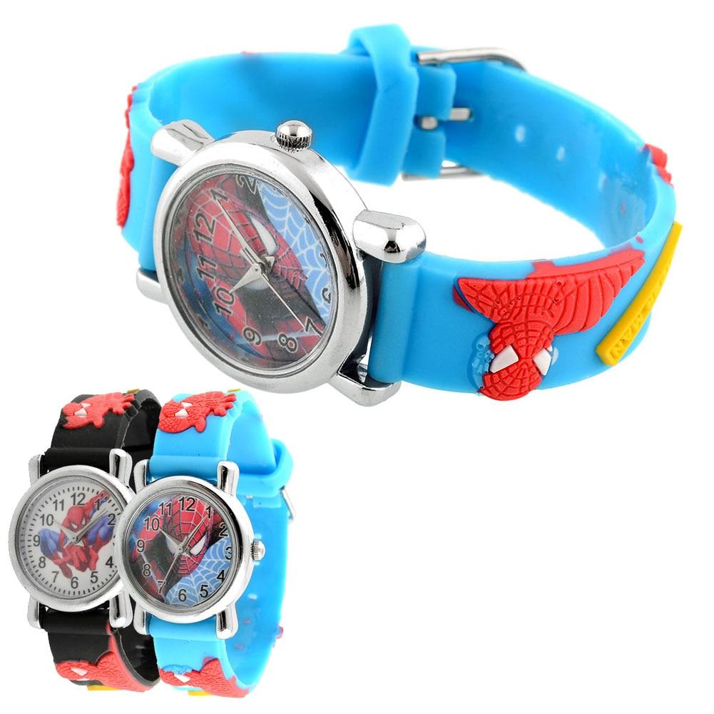 Hot New Fashion Rubber Blue Cartoon Child Boys Kid Chilren Analog Quartz Spider Man Marvel Wrist Watch