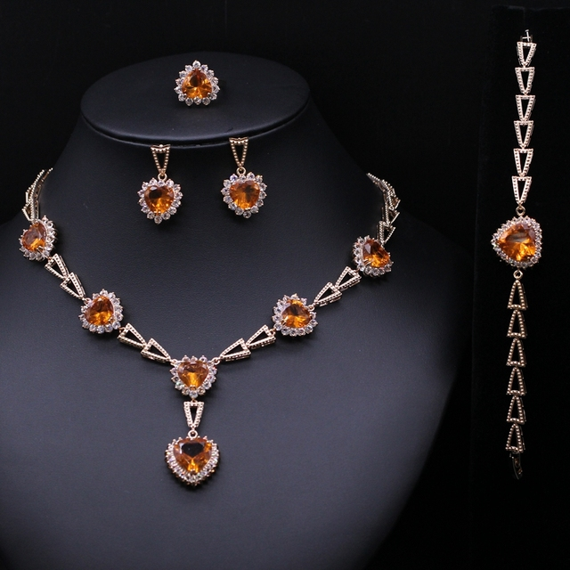 Wedding Bridal Heart Multicolor AAA CZ Jewelry Sets For Women High Quality Necklace Earring Ring Bracelet Jewelry Accessories