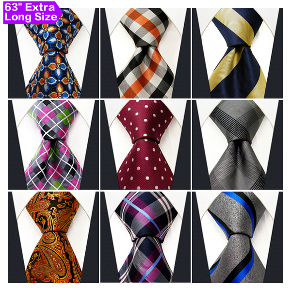 a571eaedc417 Wholesale Assorted Mens Ties Necktie Extra Long Size 63 inches Free  Shipping 100% Silk Wedding Fashion Mixed Lot