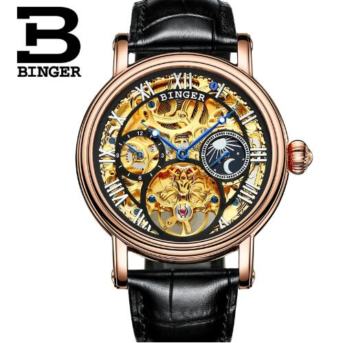 Switzerland Binger Automatical Mechanical Watches Men Luxury Brand WristWatch Male Clock Leather Skeleton Casual Business Watch automatical mechanical watches qlls men luxury brand wrist watch male clock steel wristwatch men skeleton casual business watch