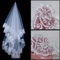 High Quality 2016 Vintage White Ivory Short Tulle Wedding Bridal Veil Elbow Length Two Layer Lace Appliques Cheap