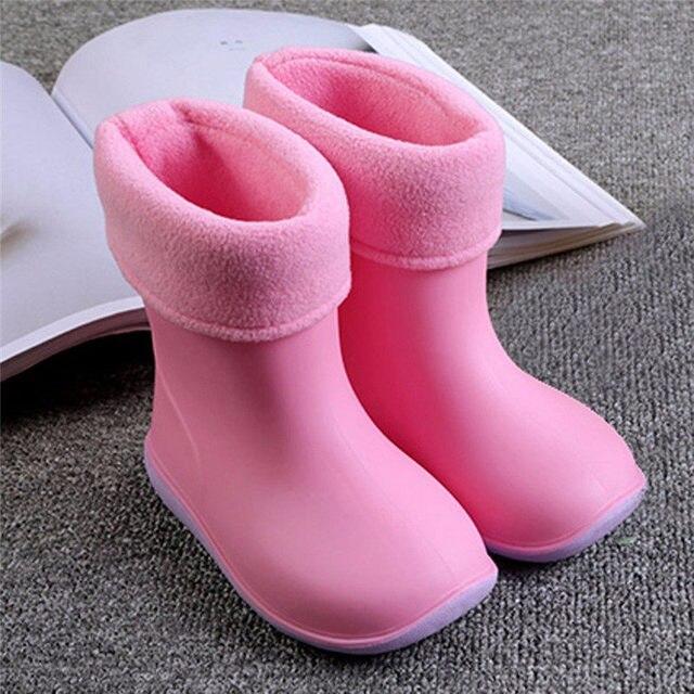 Muqgew водонепроницаемый детей Резиновая soild ярких цветов резиновая теплая мальчики девочки дождь сапоги дети дождь обувь Прямая поставка