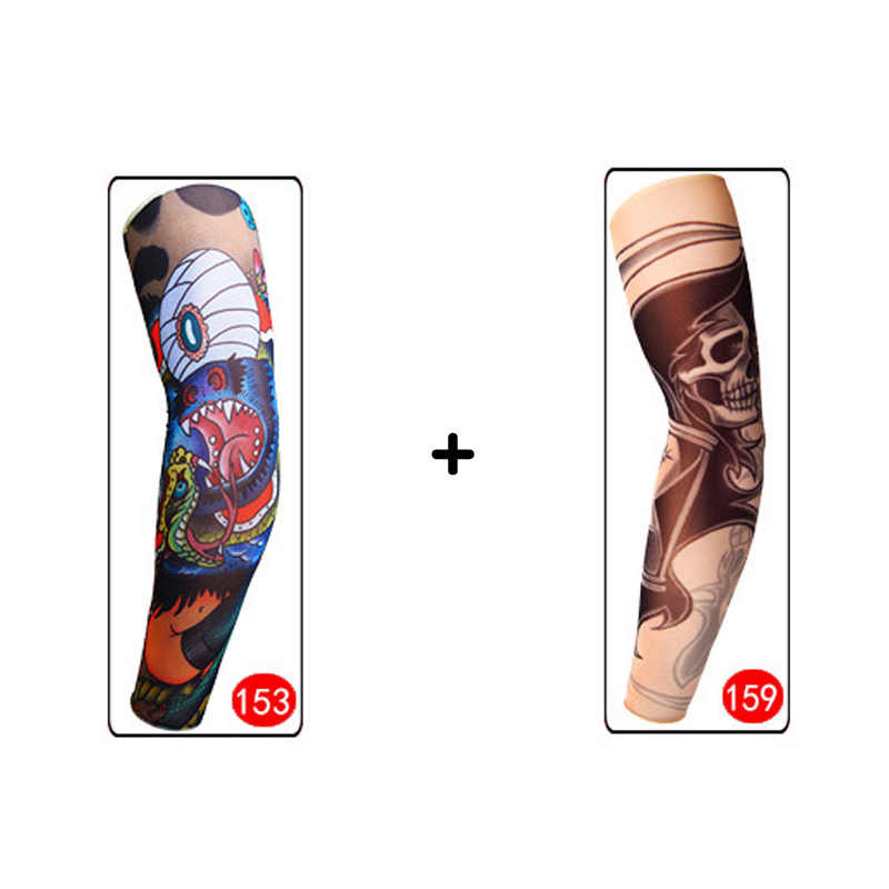 54e90539e17e8 ... Men 2 pieces Tattoo Sleeve Elastic Compression Arm Sleeves Summer  Cooling Cover UV Protection Basketball Long