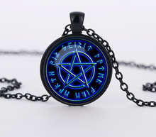 Blue stars Wiccan Pendant Necklace charms Jewelry personality Pentagram glass Occult necklaces pendants CN682