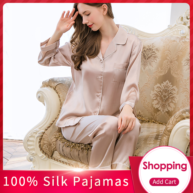 Women 100% Real Silk   Pajamas     Set   2019 Sexy Solid Nightgown Pyjama Femme Sleep Lounge Bedgown Girls Pure Silk Sleepwear Suits