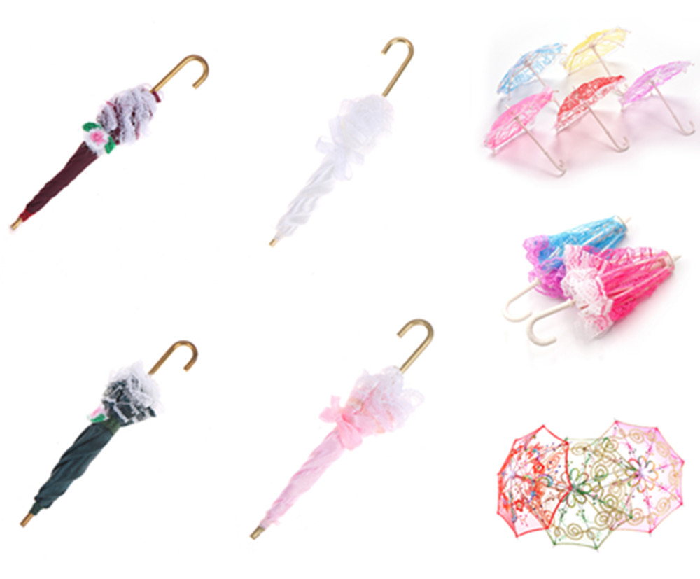 Cute Umbrella Doll Accessories Handmade Doll's Embroidered Umbrella For Dolls Toy Accessories Gift For Children