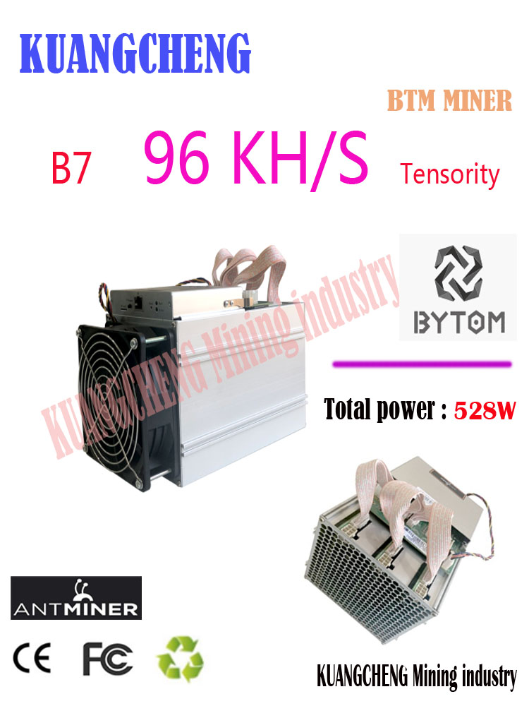 Used ONLY 90% NEW Tensority Miner  BTM Miner Asic 96K/S ANTMINER B7 Only 538WATT Low Power  Electronic Mining
