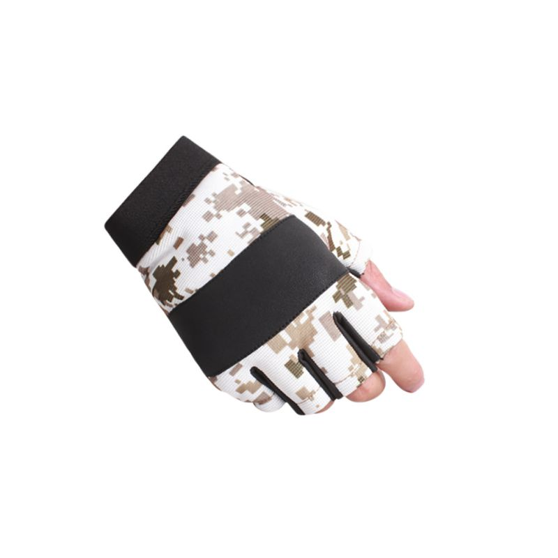 Новое поступление 1 пара Half-палец камуфляж Прихватки для мангала Для мужчин мягкие Воздухопроницаемая ткань Назад PU ладони