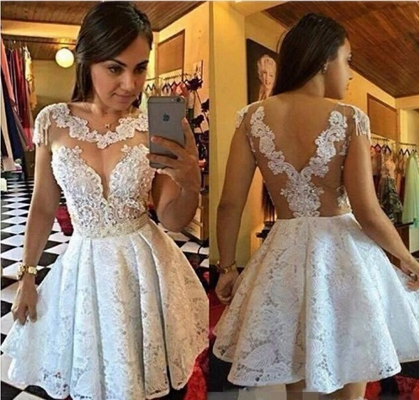 bf993ea176 2017 Gorgeous White Lace A-Line Homecoming Dresses Scoop Neck Short Sleeves  Sheer Back Appliques Beading Graduation Dress M226