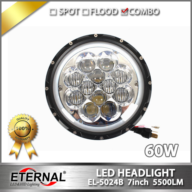 free shipping 60W motorcycle headlight with blue atmosphere light hi low beam high power offroad 4x4 7inch round headlight 2pcs free shipping 7 led headlight hi low beam with color drl 12v 24v c ree led headlight for j eep offroad 4x4