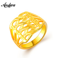 Andara High Quality Ring For Man/Woman Yellow Gold Color Romantic Unisex Bridal/Party Vintage Lucky Jewelry Fashion JR099