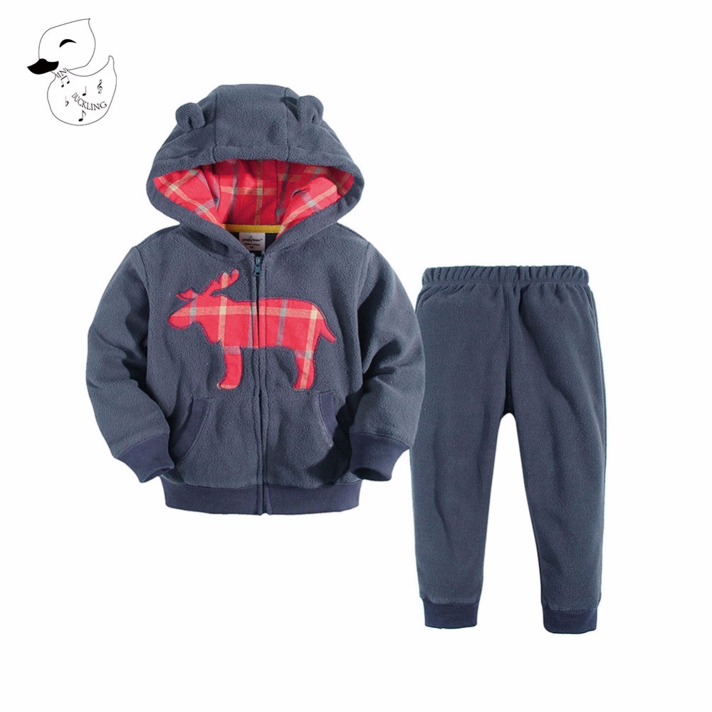 BINIDUCKLING 2017 New Chidren Boys Girls Clothing Set Autumn Fashion Hooded Coat Suits Kids Cotton Clothes Toddler Tracksuits