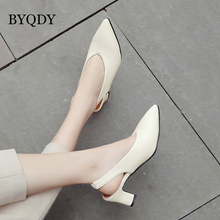 BYQDY Fashion Low Heel Pumps Slip On Pointed Toe Party Shoes Spring Autumn Comfortable Slingbacks Big Size 42