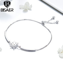 BISAER Never Fade Bling Bling Chic Cooper Chain Bracelet for Women Wedding Statement Crystal Jewelry Gifts GSB049 chic faux crystal skull bracelet with ring for women