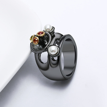 цена на Special unique women rings Neo-Gothic jewelry lot top quality black plate color crystal cocktail ring