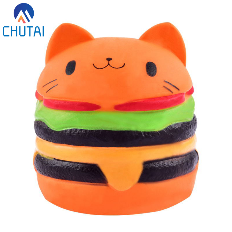 Cartoon Cat Hamburger Scented Slow Rising Squeeze Toys Exquisite Kid Grownups Soft Decompression Fun Toys Relax 10*8CM