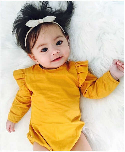 Hot Baby Girl Simple Bodysuit Cute Solid Color Kids Jumpsuit Black Sunsuit Toddler Autumn Yellow Outfits Clothes