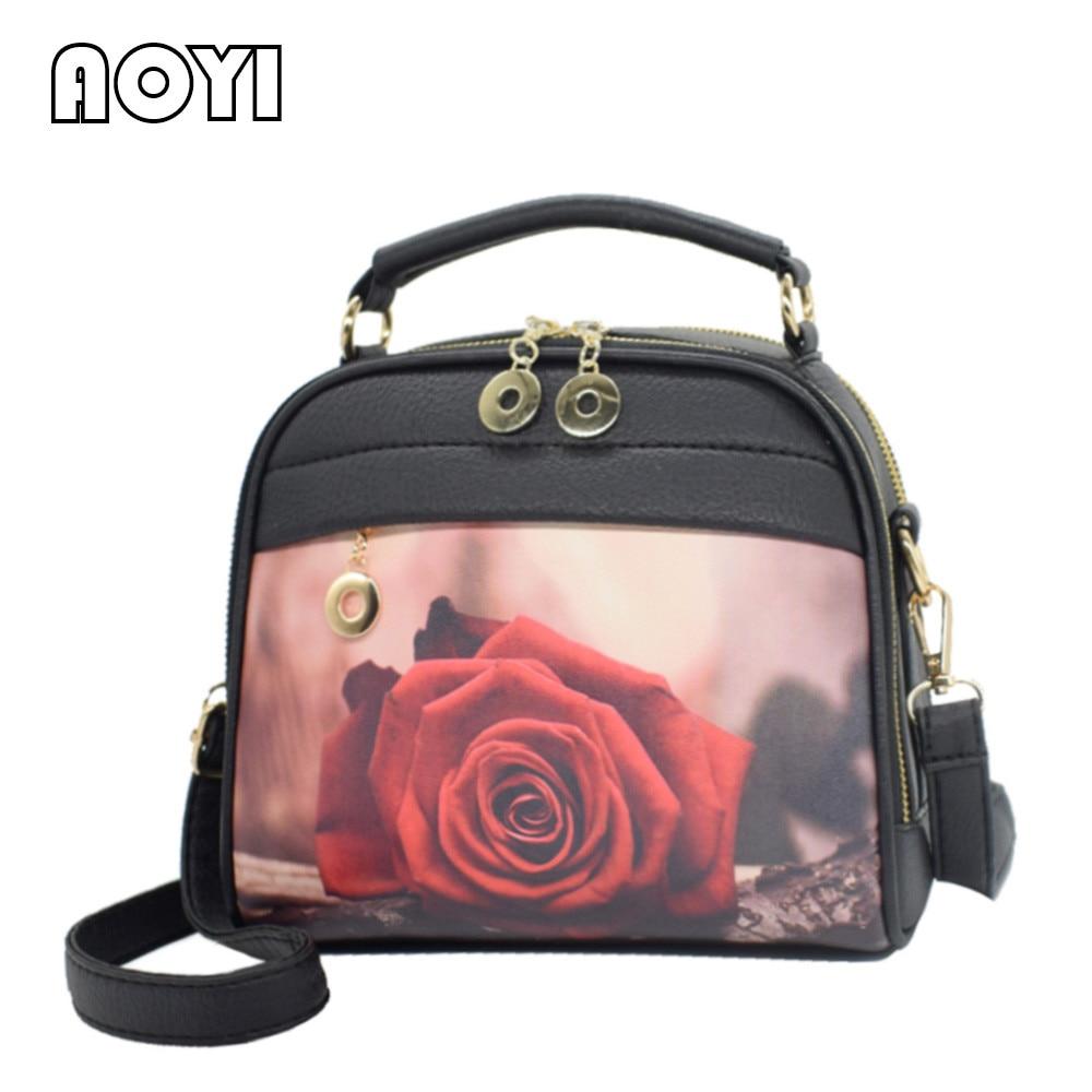 AOYI Women Handbag Luxury PU Leather Hand Bag Fashion Shoulder Bag Leisure Print Crossbody Bags Messenger Bag for Teenager Girls все цены